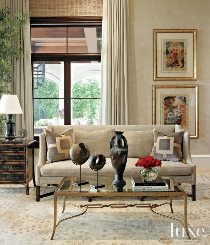 Neutral Mediterranean Family Room With Geometric Accent Pillows