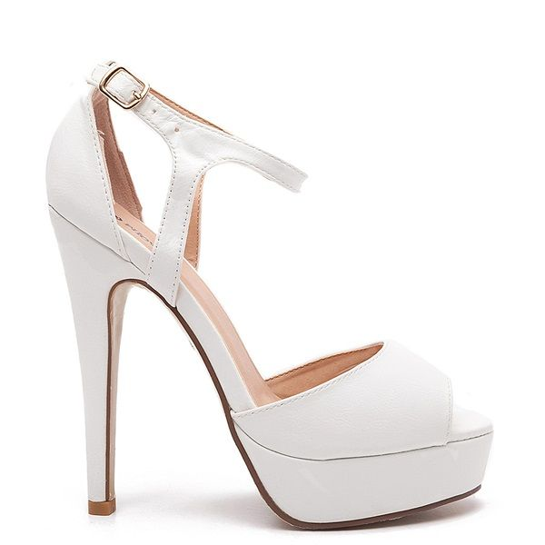 White high heeled sandals with platform, slim heel and an adjustable gold buckle.