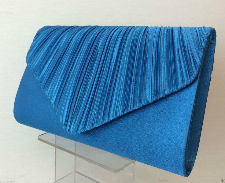 Blue Pleated Satin Envelope Evening Clutch Bag