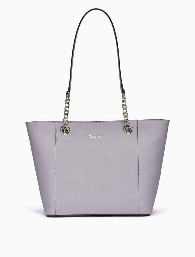 7127e29a10 Saffiano leather chainlink tote bag | Products | Bags, Tote bag ...