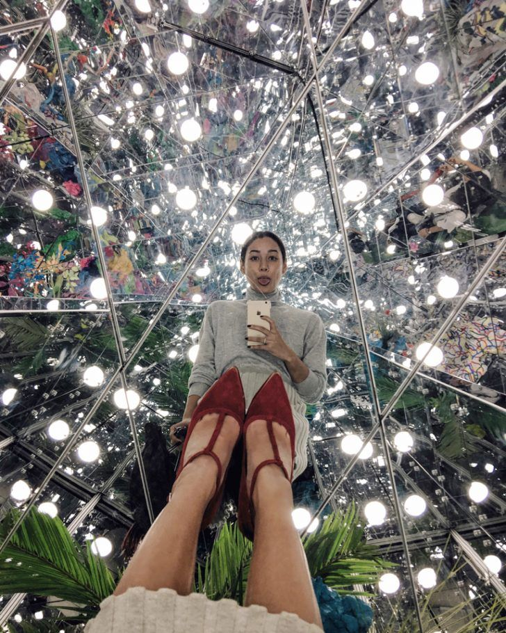 "Kim Jones Share Her Singapore Travel Diary: ""[This is] Deng GuoYuan's labyrinth of mirrors and neon fauna at the Singapore Art Museum for his exhibit 'Noah's Garden II' for the Singapore Biennale."" 