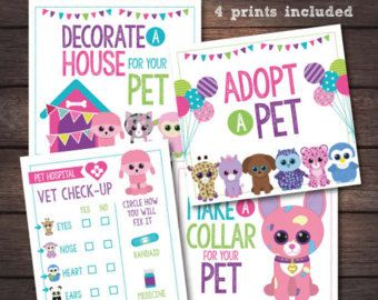 Beanie Boo Adoption Certificate Pet Adoption Party Puppy Pet