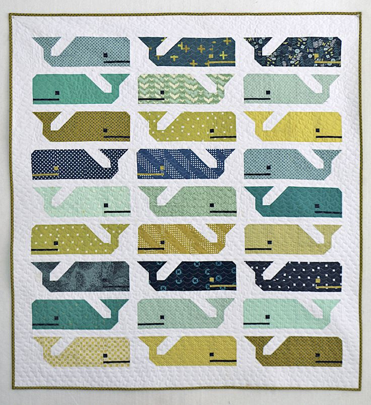 My Preppy the Whale baby quilt is done! These whales are ready to swim off to their new little...