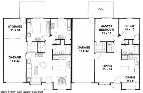 Plan 1462d duplex ranch first floor plan home Duplex floor plans with garage