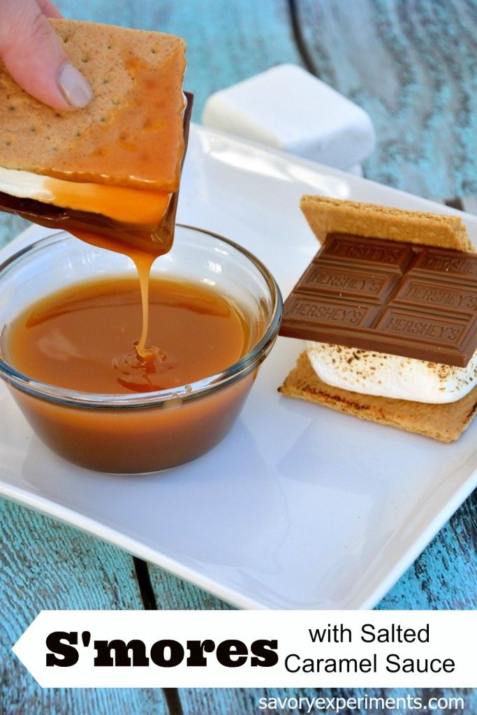 S'mores Recipe with Salted Caramel Sauce- take your s'mores up a notch by adding caramel! www.savoryexpeirments.com