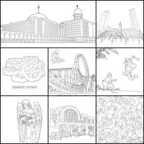 Ngintip isi buku #JakartaColoringBook 01, from @penerbitharu @ColoringBookID #betawi #jakarta #jakartaindonesia #indonesia #jkt #exploringjakarta #ilovejakarta #batik #indonesianbatik #adultcoloringbook #coloringbook #bukumewarnai #mewarnai #drawing #sketsa #sketch #doodles #doodle #doodling #hobby #arts #masbambi #masbe #mas_be #bambibambanggunawan #karyamasbambi