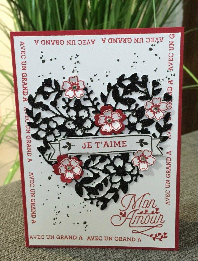 Carte Saint Valentin 2016 avec le set de tampons et dies éclosion d'amour par Marie MEYER http://ateliers-scrapbooking.fr/