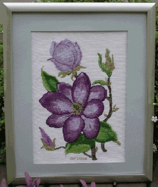 Cross stitch pattern MAGNOLIA  cross stitch,needlepoint,embroidery,floral,wall art,pillow,cross stitch picture,botanical,diy,anette eriksson by anetteeriksson on Etsy
