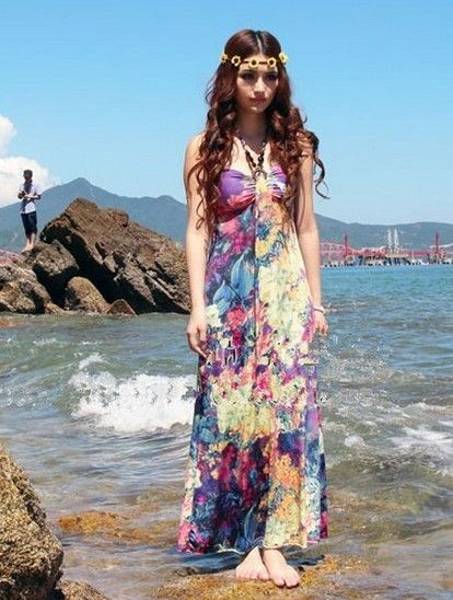 Bohemian Style Slim Tube Top Long Dress