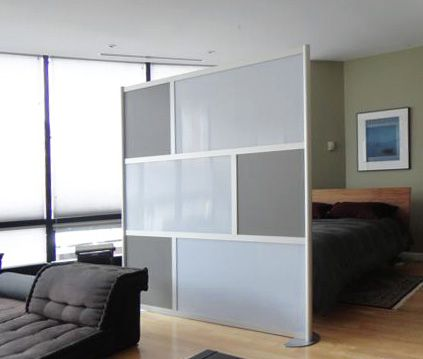 South Boston Loft with 6' LOFTwall screen dividing living area and bedroom