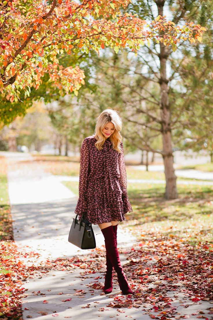 Fall floral dress + burgundy over the knee boots + black purse