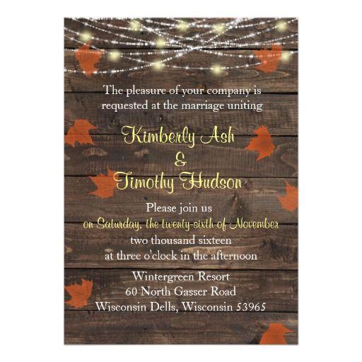 Rustic Barnwood Fall Leaves Wedding Invitation
