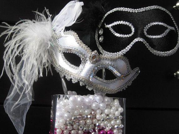 Bride And Groom Wedding Mask Set Mardi Gras Masquerade Style Elegant Party