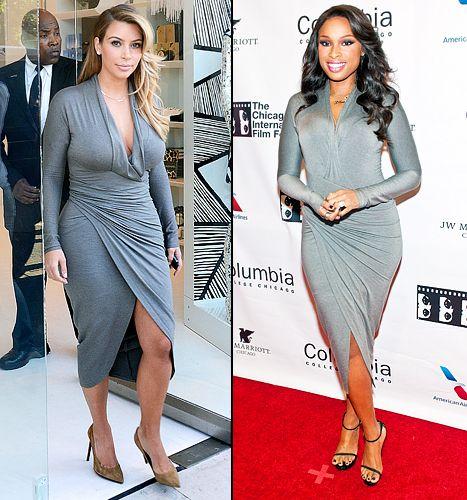Kim Kardashian vs. Jennifer Hudson same body-hugging grey Donna Karan dress -- who wore it best?