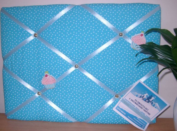 Blue Memoboard, French Memoboard, Fabric Notice Board, Blue Spotted note board, Kitchen notice board, Bedroom decor, New Home, Teen Room by HowManyBeansMakeFive on Etsy