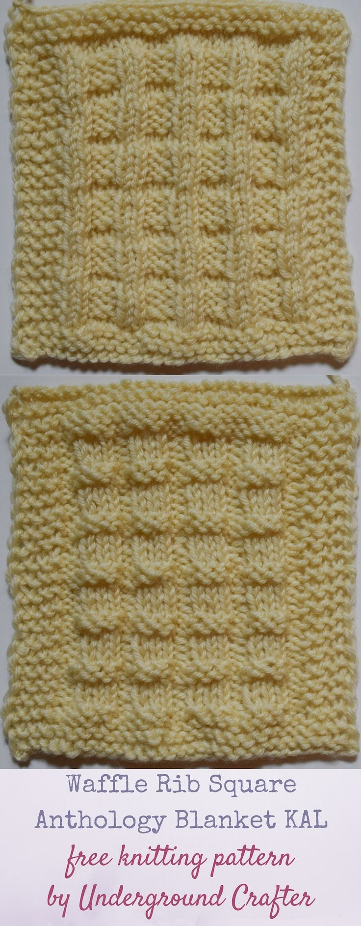 "Waffle Rib Square, free knitting pattern by Underground Crafter | This variation on ribbing is also reversible. The Waffle Rib Square is one of 30 free knitting patterns for 6"" (15 cm) squares in the Anthology Blanket KAL."