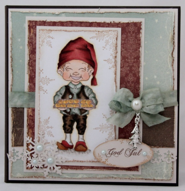 Christmas card made for a GDT spot at Phunnyface. Phunnyface image colored with Copics, Pion Design papers.
