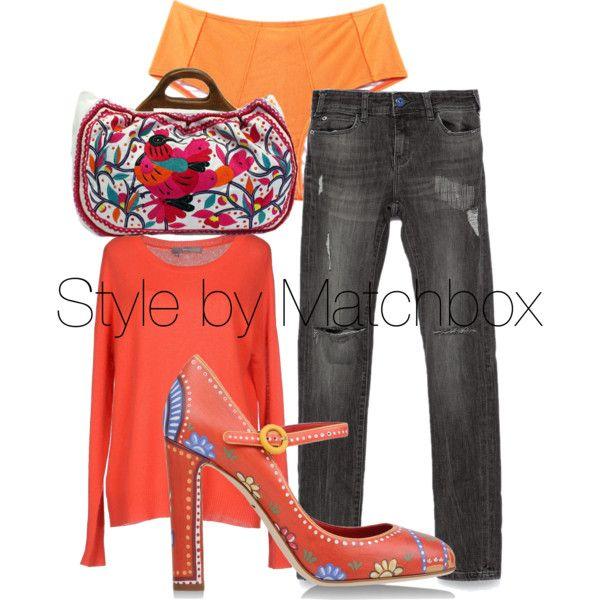 Naranja + gris by maria-cecilia-gatti on Polyvore featuring polyvore fashion style 360 Sweater Zara Dolce&Gabbana Moyna