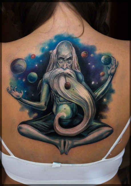 Wizard Tattoo Motive  - http://tattootodesign.com/wizard-tattoo-motive/  |  #Tattoo, #Tattooed, #Tattoos
