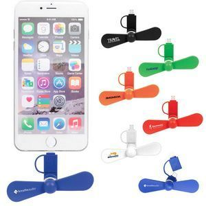 Mini USB Cell Phone Fan! Cool off with this hot new cell phone fan. As if your smart phone doesn't do enough already - now it can cool you off, too! Plug this fan attachment right into your smart phone for instant relief. Powerful + soft blades with quiet operation. Works with most Apple, Samsung and Android smart phone devices. 2018's best trade show giveaways! #tradeshow giveaways
