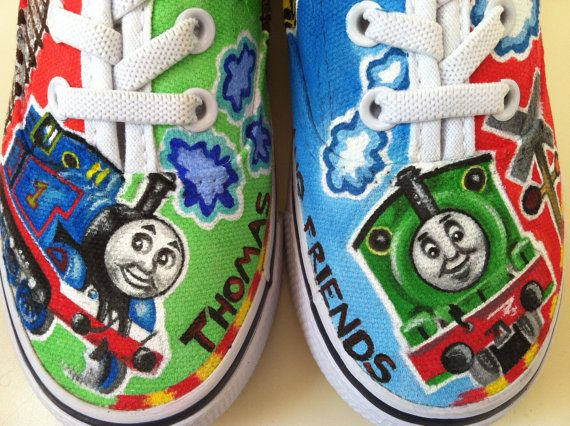 Thomas The Train Hand Painted Little Boy Shoes By Dilleys On Etsy Shoes Pinterest