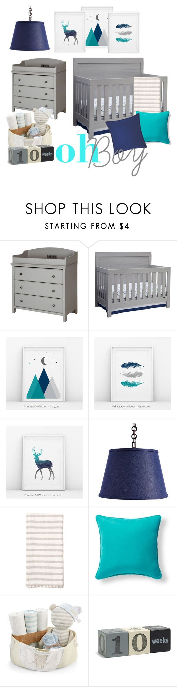 """""""Navy, Teal and gray nursery"""" by pwishes on Polyvore featuring interior, interiors, interior design, hogar, home decor, interior decorating, South Shore, Simmons, Ballard Designs y Zestt"""