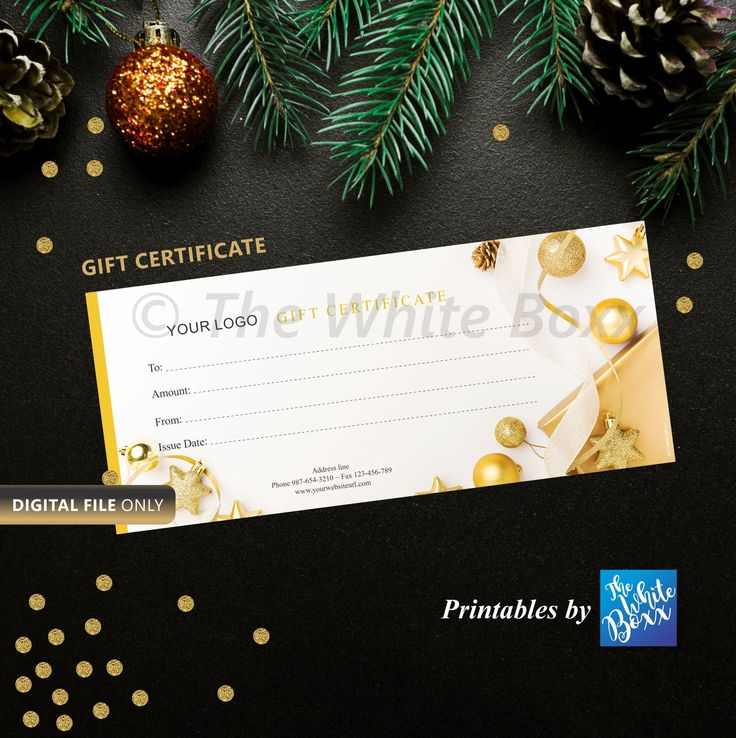 Gold Christmas Gift Certificate / Gift Voucher Certificate