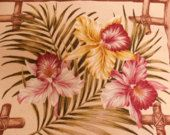"Maui Maui Tropical Print Barkcloth Remnant, Floral Bamboo Lattice, Unused Barkcloth, Hawaiian Barkcloth, Upholstery Fabric, 2 YDS x 56"" Wide"
