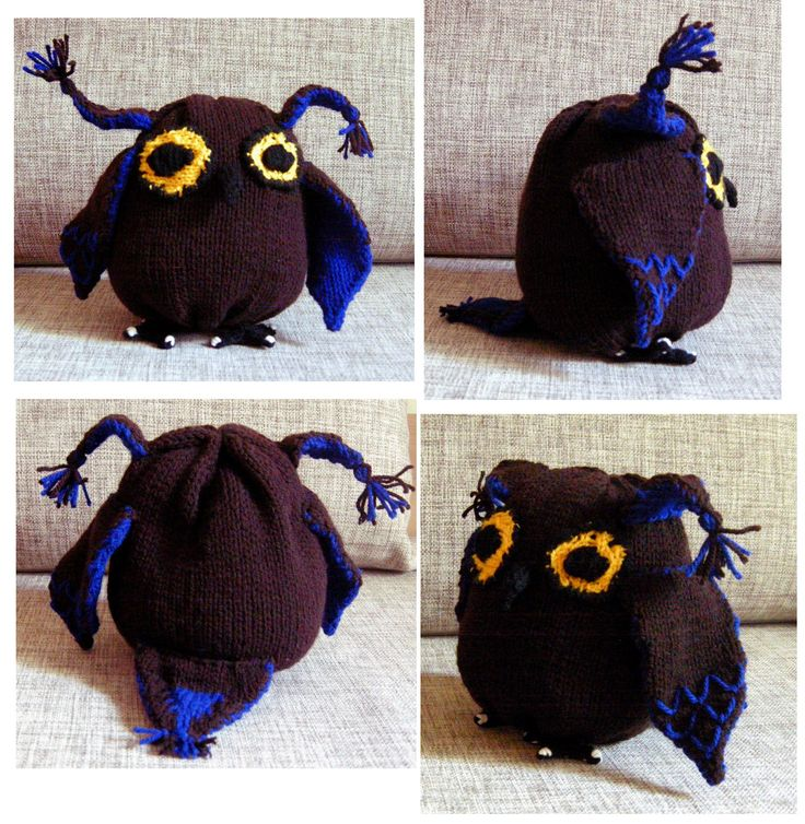 Blue brown knitted owl