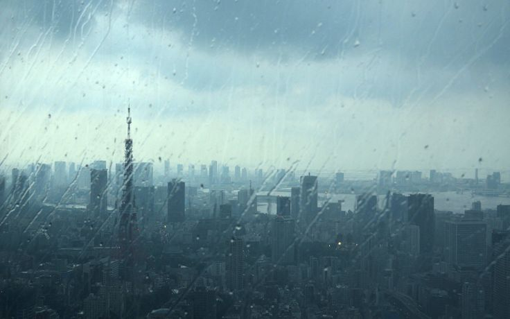 Japan Tokyo cityscapes urban water drops Tokyo Tower rain on glass ...
