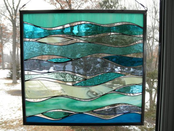 Sea and Surf  Stained Glass Panel by SandhillShores on Etsy, $65.00