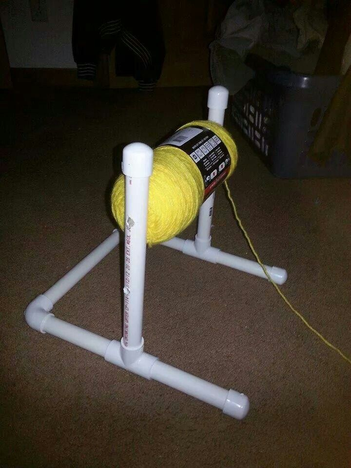 Stand to hold skeins of yarn while crocheting or knitting