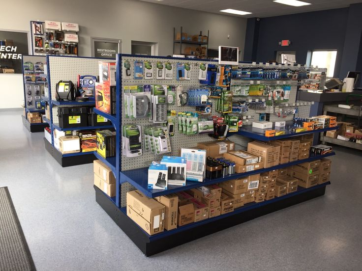 Blue Gondola Shelving units from Handy Store Fixtures!