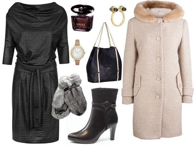 Sukienka- Midori Feminine Fashion, buty- Caprice, płaszcz- Bialcon, rękawiczki- Gena, torba- Boca, zegarek- Tkmaxx, pierścionek- Tkmaxx, perfumy- Versace