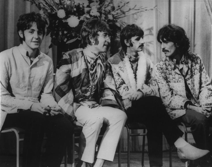 The Beatles are pictured as they attend a lecture given by Maharishi Mahesh Yogi, founder of the international Meditation society on Transcendental Meditation at the university College in Bangor, Wales, Great Britain to participate in the weekend of meditation, August  27, 1967. The Beatles decided to attend the lecture in Bangor after hearing the Yogi at the Hilton Hotel in London last weekend. From left: Paul McCartney, John Lennon,  Ringo Starr and George Harrison.  (AP Photo) via…