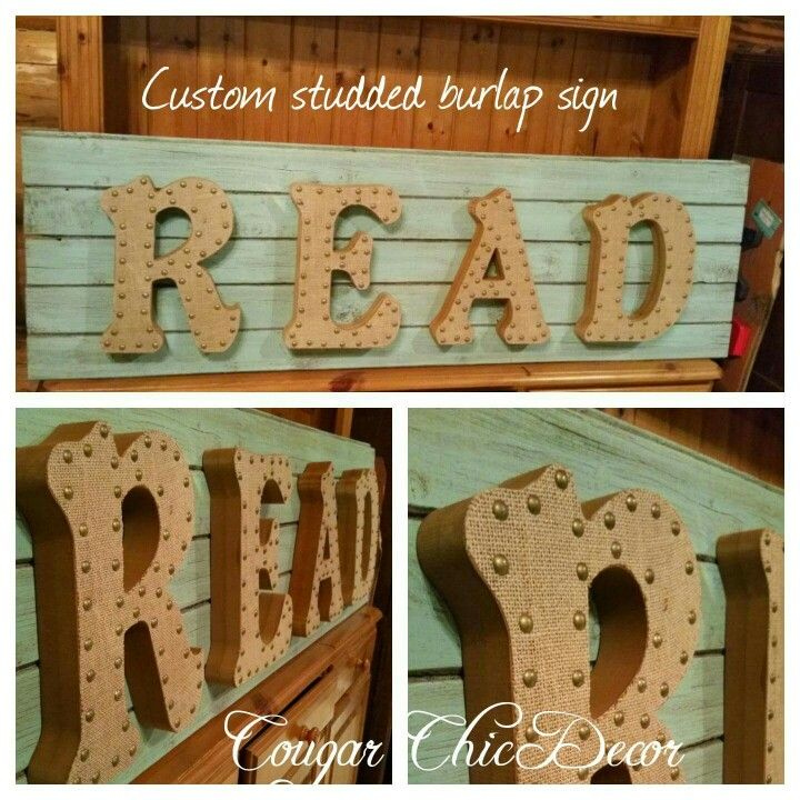 How cute is this studded burlap Barnwood sign?! This one was a custom order and is sold www.albertadames.ca
