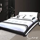 Kota Queen Leather Bed - Black & White