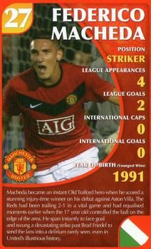 2010 Top Trumps Specials Manchester United #NNO Federico Macheda Front