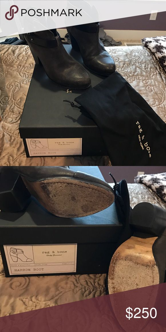 Rag and bone harrow boot Meet THE PERFECT BOOTIE!!  Only worn a few times. Only noticeable on the soles. Comes with box and dust bag. Great Christmas gift!  The color is called stone and is kind of a cross between brown and grey. Very unique. rag & bone Shoes Ankle Boots & Booties