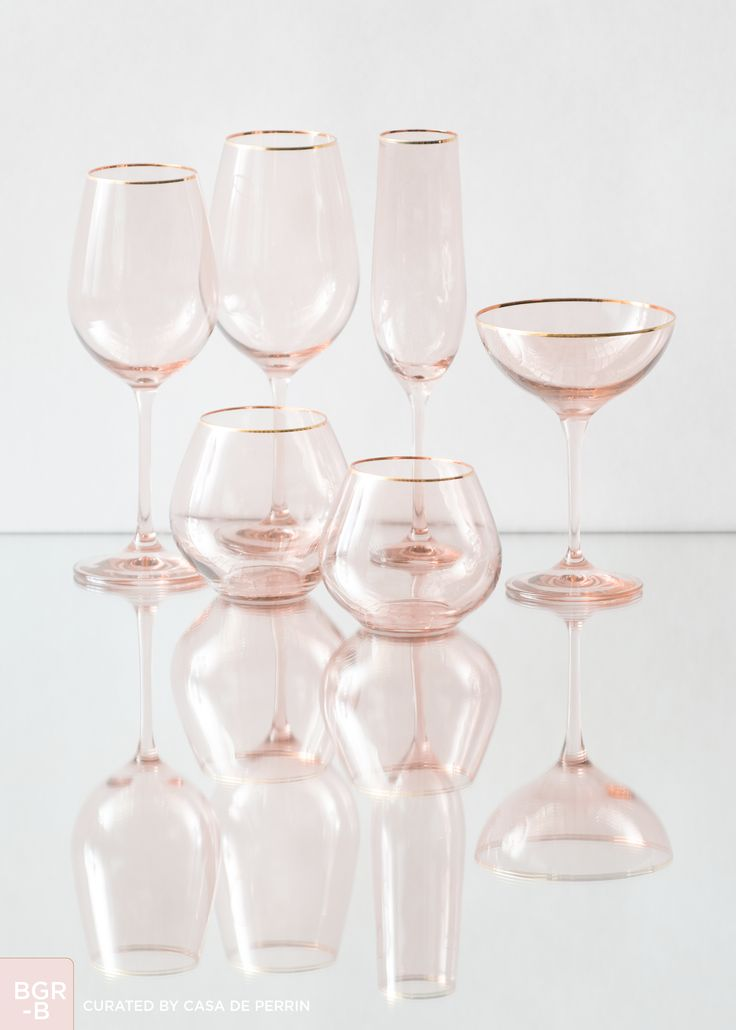 Bella Gold Rimmed | Blush - Water Goblet, Wine Goblet, Champagne Coupe, Champagne Flute, Stemless Water, Stemless Wine // Casa de Perrin