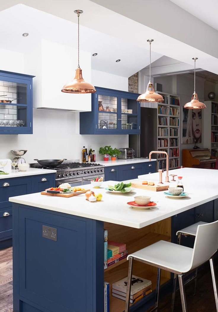 Coolicon Copper Pendant Lights In Contemporary Navy Kitchen Artifact Lighting