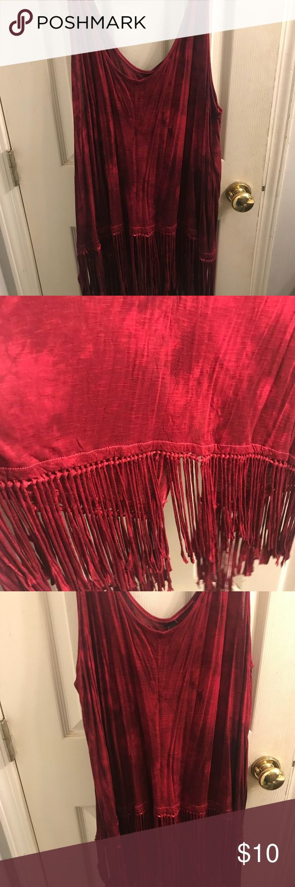 red tie dye fringe tank top never worn red/burgundy tie dye fringe at bottom of top splits in the back Jessica Simpson Tops Tank Tops