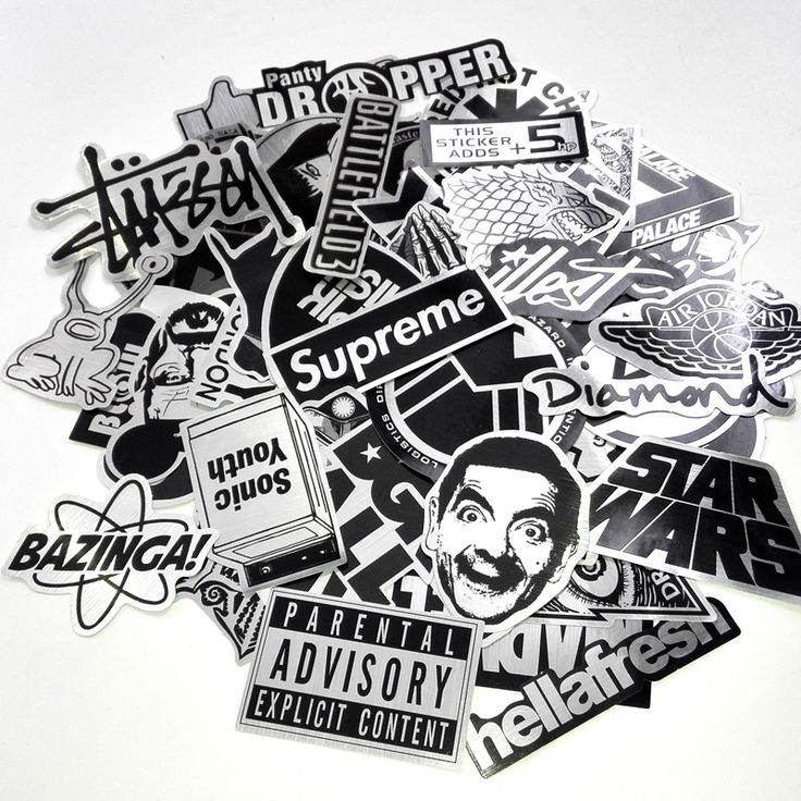 50pcs/lot Metallic Color Black and White Stickers for Skateboard Laptop Snowboard Car Phone Home Decor Funny Kids Toys Gifts