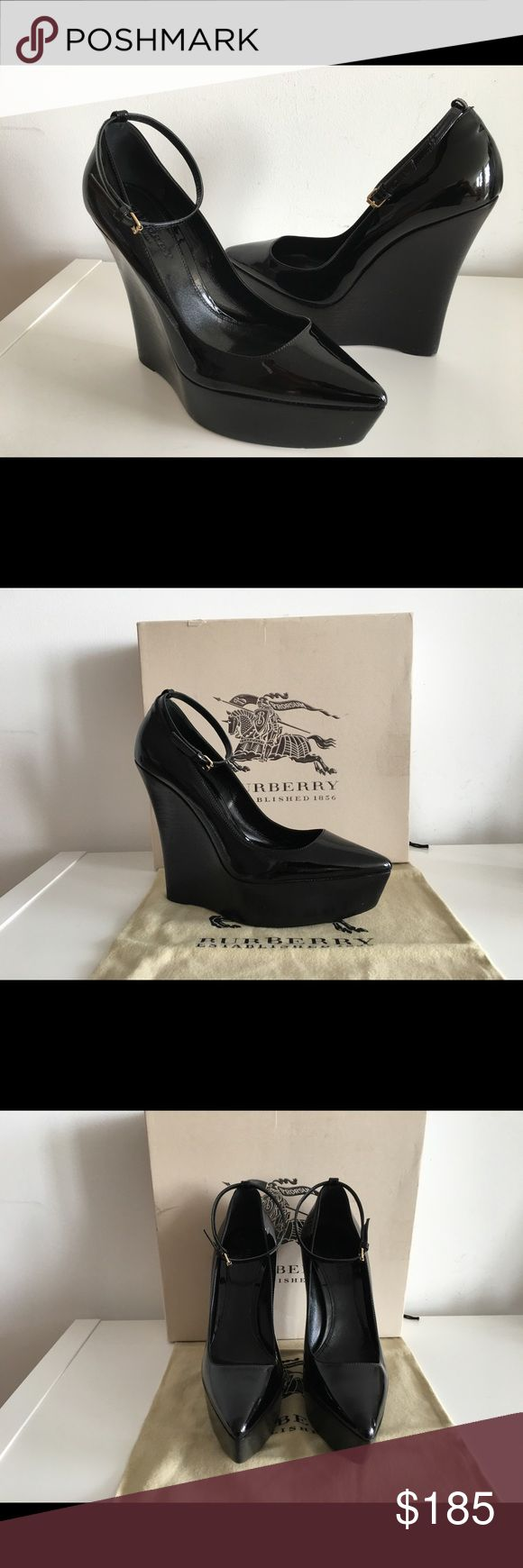 """BURBERRY PRORSUM CHATSWORTH PLATFORM WEDGE PUMPS BURBERRY PRORSUM CHATSWORTH PLATFORM WEDGE PUMPS, BLACK PATENT LEATHER, SIZE 40, WEDGE 6"""", PLATFORM 1 3/4"""", ANKLE STRAP WITH BUCKLE CLOSURE, LEATHER UPPER, LINING AND SOLE, NO SIGNS OF WEAR ABOVE SOLE, GENTLY USED IN EXCELLENT CONDITION, COMES WITH BOX AND DUST BAG. Burberry Shoes Platforms"""