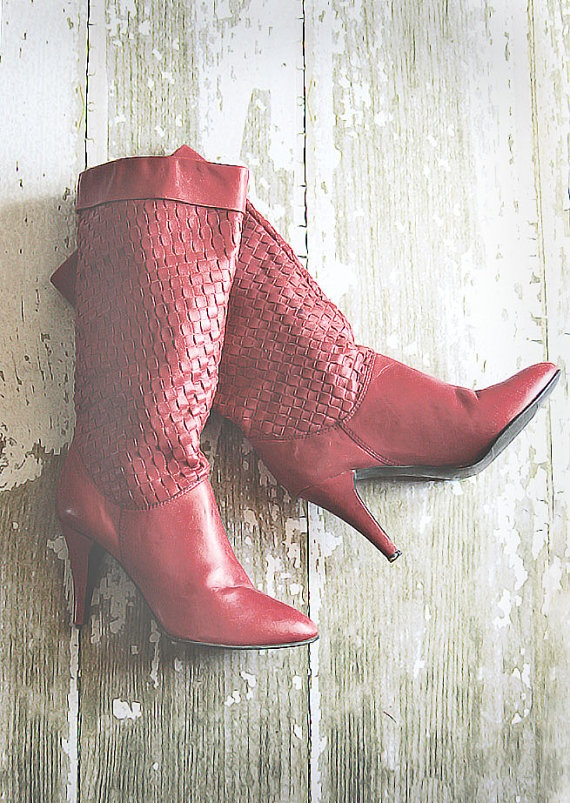 Vintage Burgandy Color Basket Weave Leather Boots 8 by poshcouture, $39.99