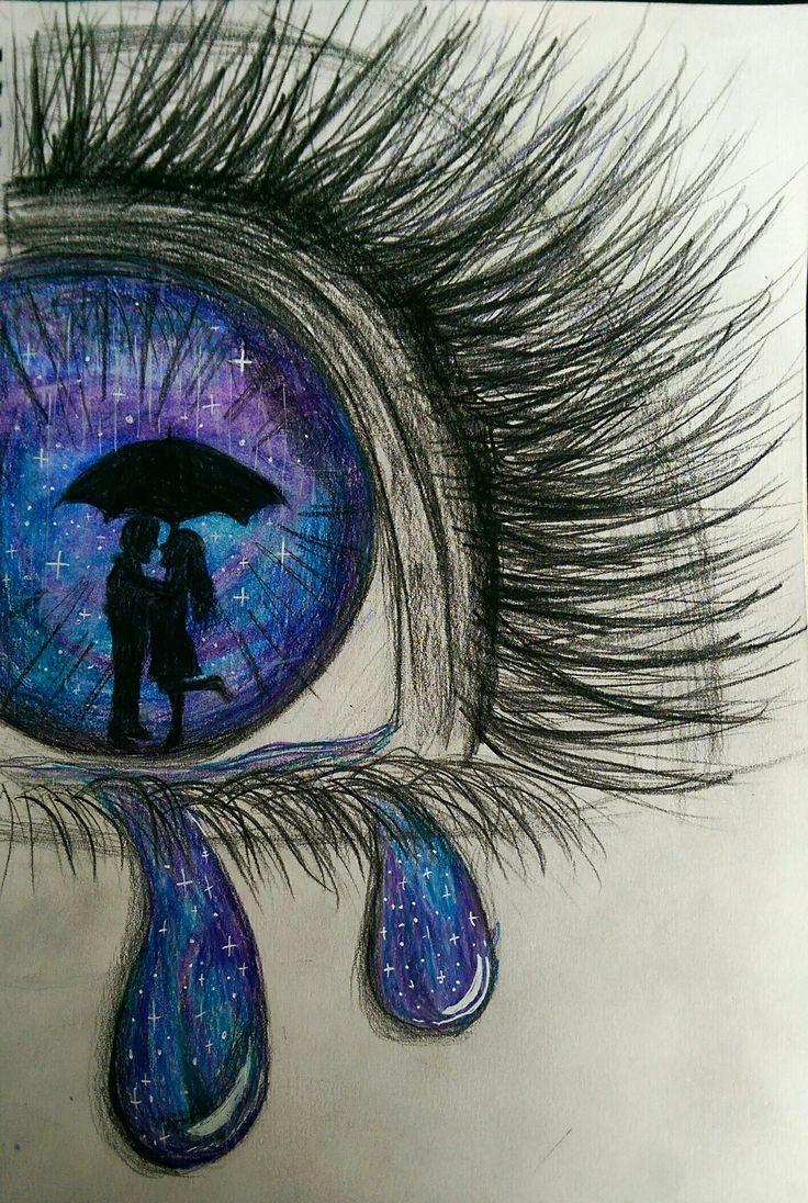 Crying galaxy eyes, using faber castell polychromos pencils.