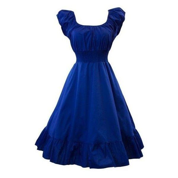 Sidecca Retro 1950s Smock Swing Dress ❤ liked on Polyvore featuring dresses, retro-style dresses, blue retro dress, swing dresses, blue dress and retro-inspired dresses