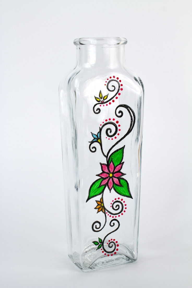 Create this trendy #vase with crystal gloss enamels. #glass #glitter
