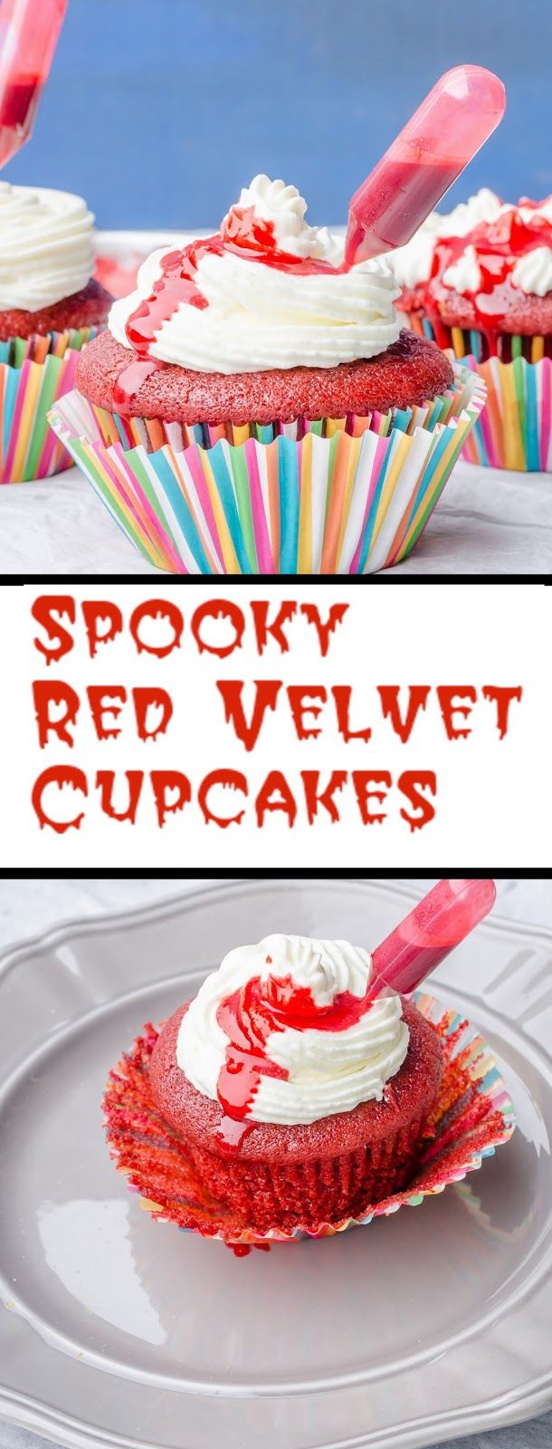 Herbivore Cucina: Spooky Red Velvet Cupcakes....Make Halloween spooky with eggless Red Velvet Cupcakes. Topped with vanilla cream and fake edible blood, these are super easy to make. #cupcake #egglessbaking #fakeBlood #halloween #holidayspecial #redvelvetcake #redvelvetemulsion #spookycakes #DIYrecipes #redcakes