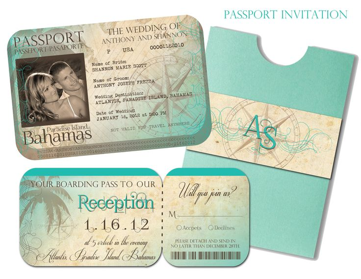 Passport Wedding Invitation and Boarding Pass Reception and RSVP Card